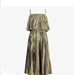 J Crew gold metallic pleat dress